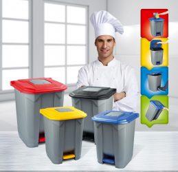 Szelektív hulladékgyűjtő konténer,SÁRGA műanyag, pedálos, 50L