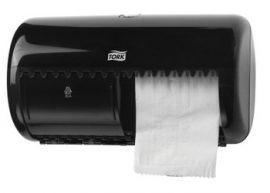 557008 Tork műanyag kistekercses toalettpapír adagoló, fekete  T4 rendszer