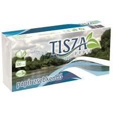 TISZA papírzsebkendő 100-as(10x10),3rétegű hófehér